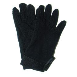 Kötött pamut kesztyű, tépőzárral, S - XL méret, fekete