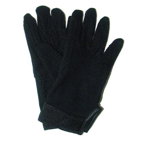 Kötött pamut kesztyű, tépőzárral, XL-es, fekete